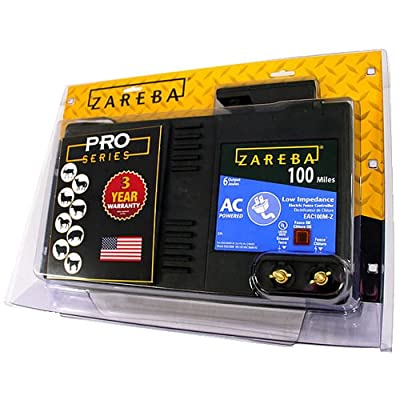 Zareba AC Powered Low Impedance Electric Fence Charger; Energizes Fence Under Optimal Conditions; Works in Heavy Weed Conditions; Include Storm Guard Lightning Protection