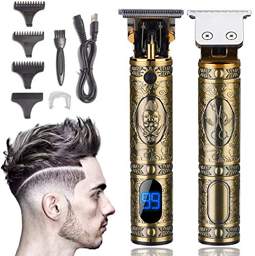 Xnuoyo Pantalla Digital Cortapelos USB Recargable Recortador de Barba Hombre Electrónico Cortar Pelo y Afeitadora para adultos y niños (Dorado)