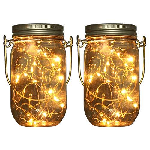 2x LED Solarglas - LED Solar Einwegglas aus Echtglas mit 20 LEDs warmweiß inkl. Akku - 2 Gläser im Set Gartenlampe Solarlampe Solar-Laterne (2x Solarglas)