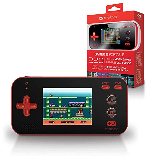 My Arcade Gamer V Portable - Handheld Gaming System - 220 Retro Style Games - Lightweight Compact Size - Battery Powered - Full Color Display - Volume Buttons - Red