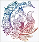 Beautiful Floral Mystical Magical Fairytale Fox On The Moon Cartoon #2 - Pastel Ombre Vinyl Decal Sticker (2' Tall)