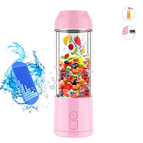 Personal Size Portable Blender, USB Rechargeable Juicer Cup 16 oz Smoothie Electric Juicer Bottel Fruit Mixing Machine Power, 6 Blades in 3D, Ice Tray, FDA BPA Free
