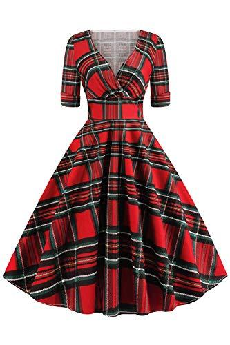 Misshow Robe Femme Chic Vintage à Manche Courte Robe de Soirée Mi Longue Mariage Robe Femme Elégante Rouge à Carreaux L