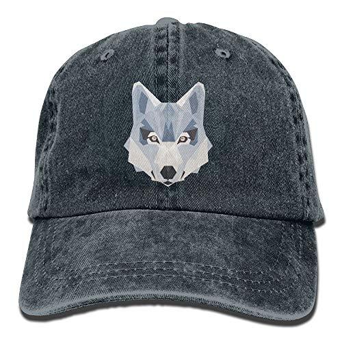 lanka Drei-dimensionale Cool Wolf Unisex gewaschene verstellbare Vintage Cowboy Hut Denim Baseball Caps