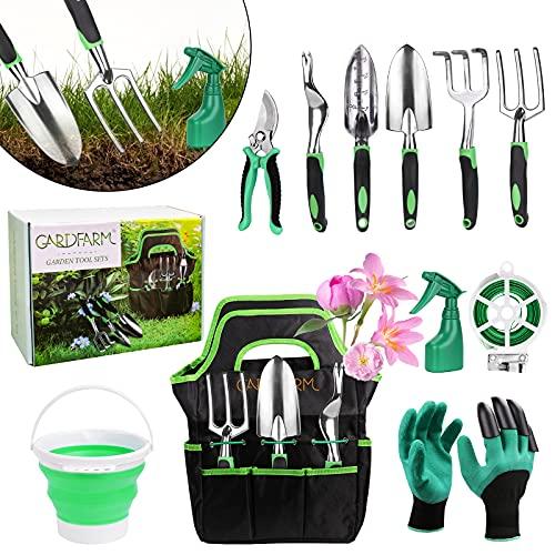FAMOOKLAN Gartenwerkzeugsatz, 11PCS tragbarer Gartenwerkzeugsatz, Rostfreier Stahl Werkzeugsets Sprühsystem und Anderen Handwerkzeugsätzen für die Landwirtschaft im Innen-...