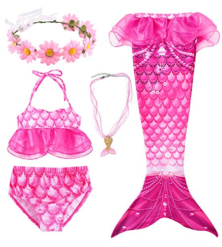 Conjunto de 5 Piezas Cola de Sirena para Nadar para niñas Traje de baño Sirena Incluyendo Coronas y Collares (HX79RD,110)