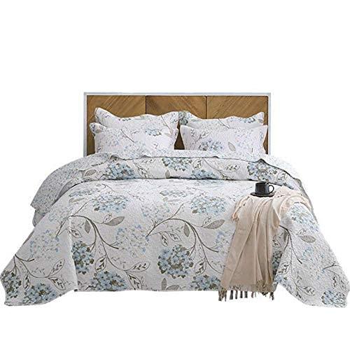 Edredón acolchado de algodón, 3 piezas, juego de cama, elegante, estampado de flores, cama doble, manta, 230x250cm con 2 fundas de almohada, 50x70cm, edredón multifunción / funda de cama / manta para