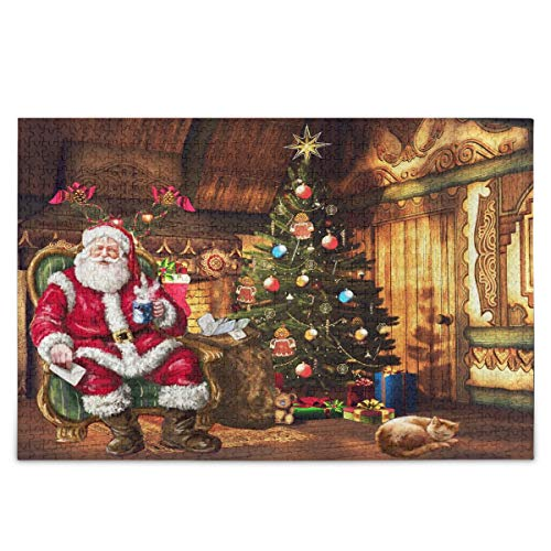 Christmas Santa Cat Jigsaw Puzzle Xmas Tree Cottage 500 Pieces Puzzles Educational Intellectual Decompressing Fun Game for Kids Adult Home Wall Decor