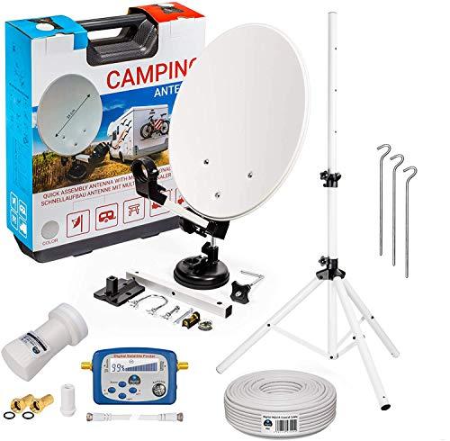 HB-DIGITAL Camping Sat Anlage im Koffer: Mini Sat Schüssel 40cm Hellgrau + Dreibein Stativ + UHD Single LNB 0,1 dB + SF888 SATFINDER + 10m SAT-Kabel inkl. F-Stecker + HDMI - Full HD Komplett Set