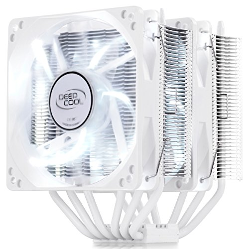 DeepCool NEPTWIN white version CPU Cooler 6 Heat pipes Twin-tower Heatsink Dual 120mm white LED Fans (NEPTWIN WHITE), AM4 Compatible