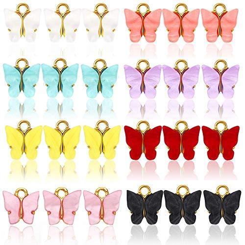 EBANKU 24 piezas Mariposa Charm Colgante Esmalte Accesorios De Aleación DIY para de La Joyería de Bricolaje, Llaveros, Pulseras, Collares, Pendientes(8 Colores)