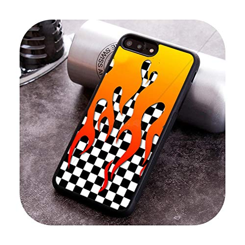 Cuty-girl Checkered Checkerboard Flame Phone Case for iPhone X XR XS 11 Pro MAX 5 6 6S 7 8 Plus Samsung Galaxy S7edge S8 S9 S10-003-for Galaxy S7