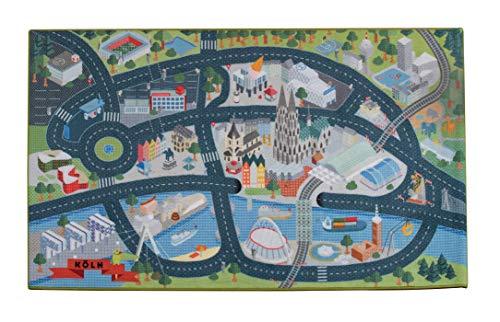 Heimatpiste Spielteppich Stadt Köln - Straßenteppich für Kinder, Spieleteppich Straße, 100 x 160 cm, Ökotex 100 Zertifiziert, Teppich Kinderzimmer mit Kettelung