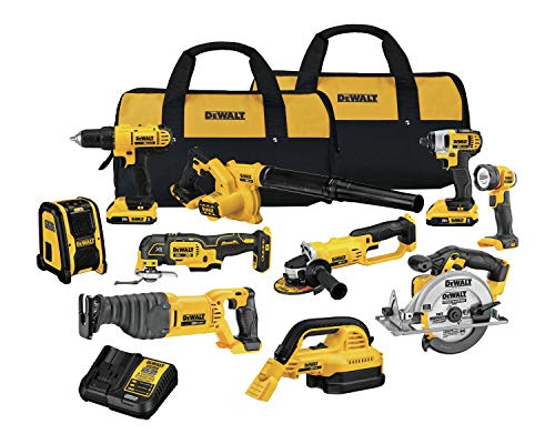 small size DEWALT 20V MAX Cordless Drill Combination Set, 10 Tools (DCK1020D2)