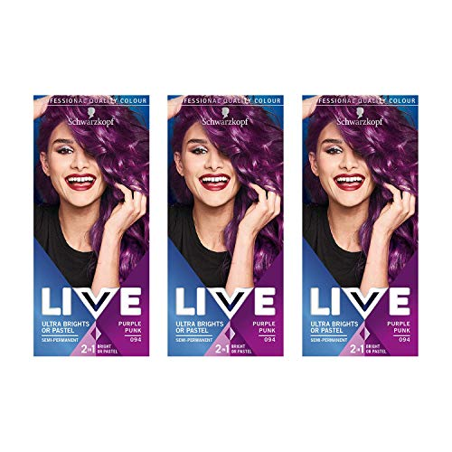 Schwarzkopf LIVE Ultra Brights Semi-Permanent Colour Purple Punk Number of 3 by Schwarzkopf