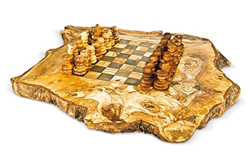 Tablero de ajedrez rústico de madera de olivo con ajedrez 40 x 40 cm