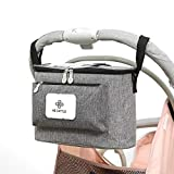 auvstar Buggy Organiser Bag, Pram Storage Bag,Baby Stroller Organizer,Universal Large Capacity Multi Compartment Hanging Pushchair Diaper Bags with Mobile Phone Pockets and Shoulder Strap(Grey)