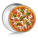 Bandeja para Hornear Pizza, 2 Piezas Bandejas Pizza Set,Universal de Bandejas para Hornear Pizza Antiadherente de Acero Inoxidable 304 Bandeja Redonda para Hornear para Servir Masa,8 y 9 pulgadas
