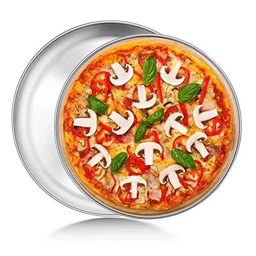 Bandeja para Hornear Pizza, 2 Piezas Bandejas Pizza Set,Universal de Bandejas para Hornear Pizza Antiadherente de Acero Inoxidable 304 Bandeja Redonda para Hornear para Servir Masa,8 y 9 pulga
