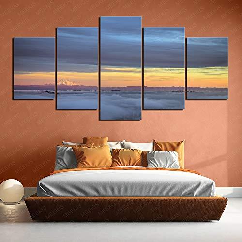 Pintura impresa en HD 5 paneles Atmósfera de tienda de paisaje 100x50cm Sin marco