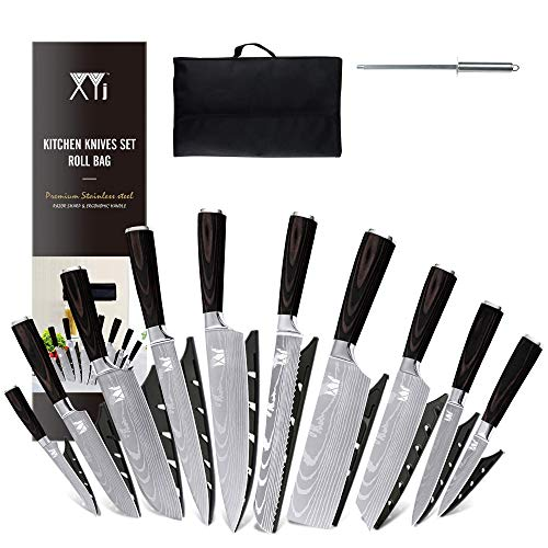 XYJ Stainless Steel Kitchen Knives Set 10 Piece Chef Knife Set with Knife Sharpening Rod Carry Case Bag & Sheath Well Balance Ergonomic Handle