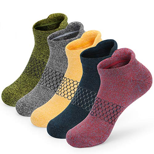 5 Pairs Women Anti Blister Running Trainer Sport Ankle Socks Low Cut Walking Hiking Cushioned Padded Socks for Womens Ladies 4-7 Multipack Breathable Athletic Socks White Black Colourful Cotton Socks