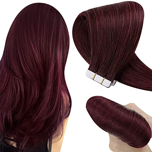 Hetto Rouge Extensions Adhesives Cheveux Naturels Vin Rouge Skin Weft Invisible Tape in Extensions 18 Pouces Tape In Remy Hair Vrai Cheveux 10 Pièces 25g par Paquet