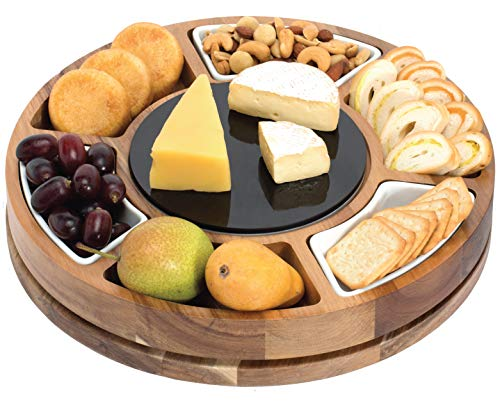 Shanik Cheese Board Set, Round Acacia Charcuterie Board, Cheese Serving Platter with...