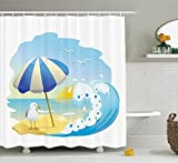 Seagulls Decor Shower Curtain Set , Seagull at the Beach with Umbrella Waves
