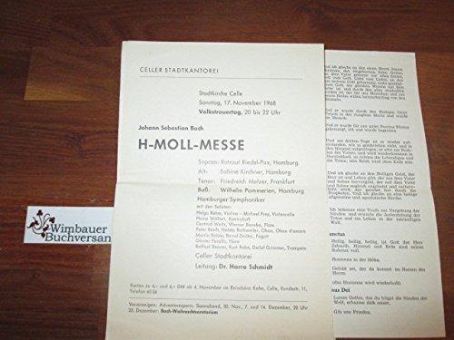 Programmzettel: Johann Sebastian Bach H-Moll-Messe Stadtkirche Celle 17. November 1968