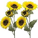 Aisamco Paquete de 3 Artificial Girasol Flocado Flores Artificiales de Govine 3 Tallos en 30 'Arreglo Floral Alto para la Decoración de Bodas en el Hogar