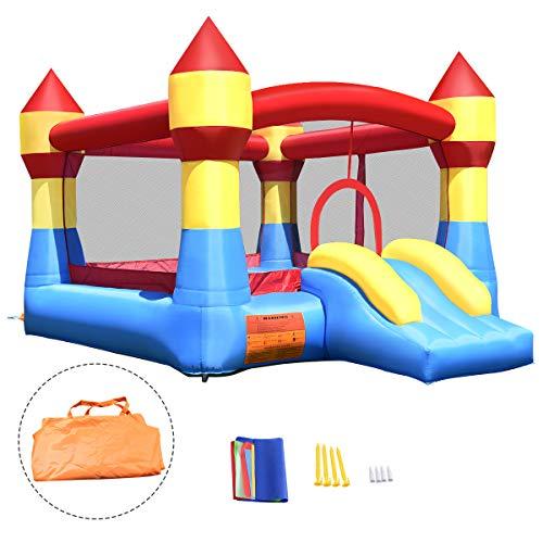 GOPLUS Hüpfburg aufblasbar, Springburg bunt, Hüpfschloss mit Rutsche, Spielburg für Kinder, 370x280x230cm