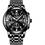 LIGE 9825 Men's Watches Stainless Steel Quartz Watch, Noctilucent, Waterproof, Sports and Fashion Watches (Black)