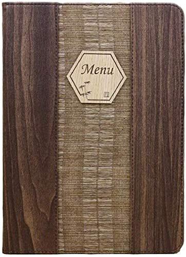 10枚セット 木目 調 メニュー ブック ファイル A4 全4パターン 料理 選択 中閉じ スタンダード レシピ バインダー レトロ 調 (パターンB)
