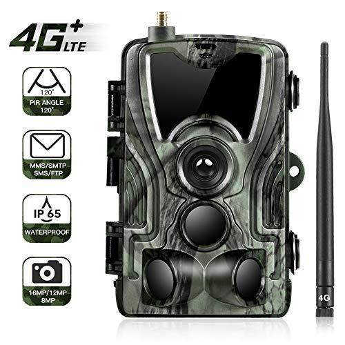"SunTek 4G 3G Cámara de Caza Vigilancia 16MP, 1080P Trail Cámara IP65 Impermeable, 24 pcs IR Leds Visión Nocturna hasta 90pies, 2.0"" LCD Pantalla, 120° Sensor de Movimiento de hasta 30m,HC550G"