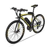 MERRYHE Bicicleta eléctrica para Adultos Bicicleta eléctrica de Carretera Ciclomotor Bicicleta extraíble Batería de Litio,Yellow-36V15ah