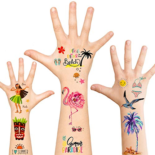 Luau Party Supplies,Temporary Tattoos Hawaiian Party Decorations,120pcs Tattoos Summer Beach Pool Party Carnival Birthday Party Favors Games for Women Men Boys Girls Kids Adults