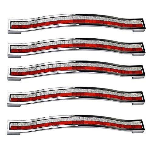 Pomos PsmGoods de tipo tirador en diamate de imitación, estilo europeo y aleaciones de zinc, para muebles, vestidores, cómodas, armarios y armarios de cocina, rojo y blanco, 160MM-5PCS