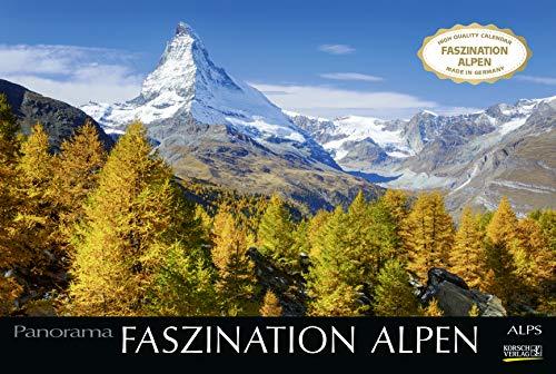 Faszination Alpen 2021: Großer Foto-Wandkalender mit Bildern von Gipfeln der Alpen. Edler schwarzer Hintergrund. PhotoArt Panorama Querformat: 58x39 cm.