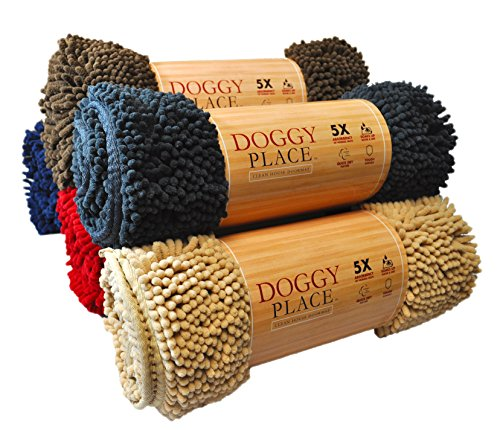 """My Doggy Place Washable Microfiber Chenille Dog Door Mat - Large (36"""" x 26"""") - Charcoal"""