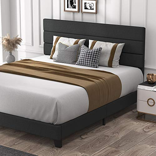 Allewie King Size Platform Bed Frame with Fabric Upholstered Headboard and Wooden Slats, Fully Upholstered Mattress Foundation/Strong Wooden Slats Support/Box Spring Optional/Easy Assembly