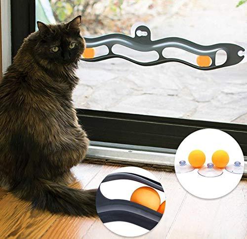 Hpybest Huisdieren Kat Speelgoed Interactieve Track Ball Speelgoed Kat Praktische Raam Zuig Cup Track Bal Huisdier Accessoires Bal Kat Tennis Sucker Speelgoed