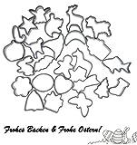 Backefix Ausstechformen Set für Ostern - sichere Keksausstecher ohne scharfe Kanten mit Silikon Schutz – Osterei, Hase, Lamm, 4 Saison Motive, grau 25 Stück
