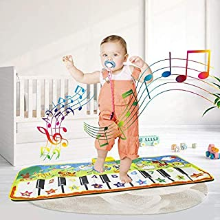 billyu Electronic Piano Blanket Educational Music Dance Fitness Game Mat 19 Keys Keyboard Playmat for Kids