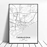 lubenwei Póster Mapa de España de Tarragona Salamanca Ibiza Granada Cádiz Málaga 50x70cm Sin Marco AQ-951