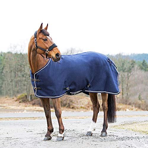 horze Vail Abschwitzdecke für Pferde aus Wolle für mehr Wärme oder nach dem Training, Blau, 155
