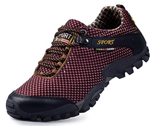CAGAYA Damen Herren Wanderschuhe Barfußschuhe Trekkingschuhe Sommer Outdoor Fitnessschuhe Wasserschuhe Sneaker 39-45 (39, Rot)