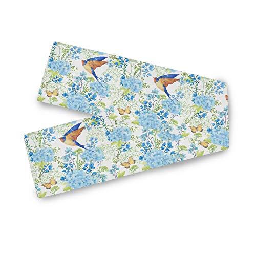 TropicalLife ADMustwin caminos de mesa, diseño de golondrina de pájaros, diseño de mariposas, lavable, para cocina, fiesta, cena, decoración de mesa de 228 x 33 cm
