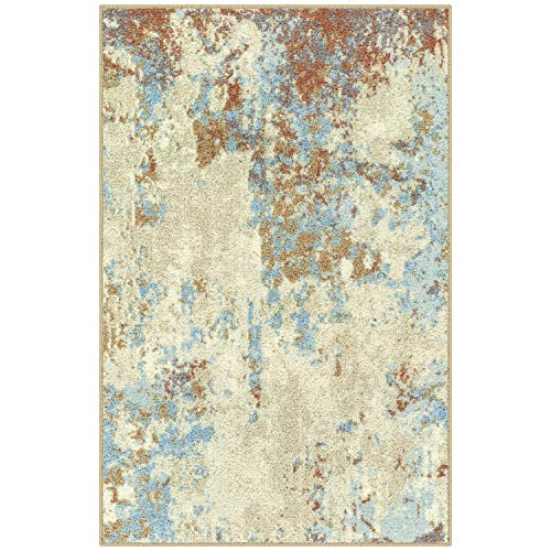 Maples Rugs Southwestern Stone Distressed Abstract Kitchen Rugs Non Skid Accent Area Floor Mat [Made in USA], 2'6 x 3'10, Multi