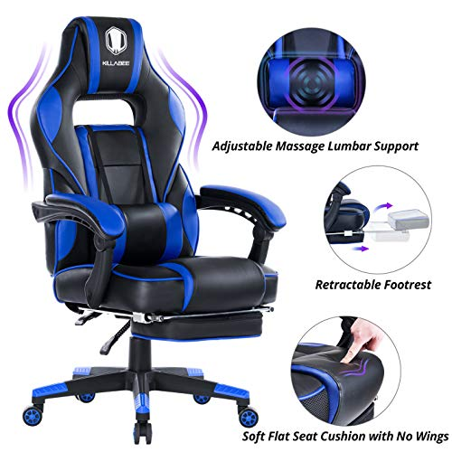 KILLABEE Massage Gaming Chair High Back PU Leather PC Racing Computer Desk...